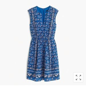 J. Crew Collection Vintage Print Blue Silk Dress